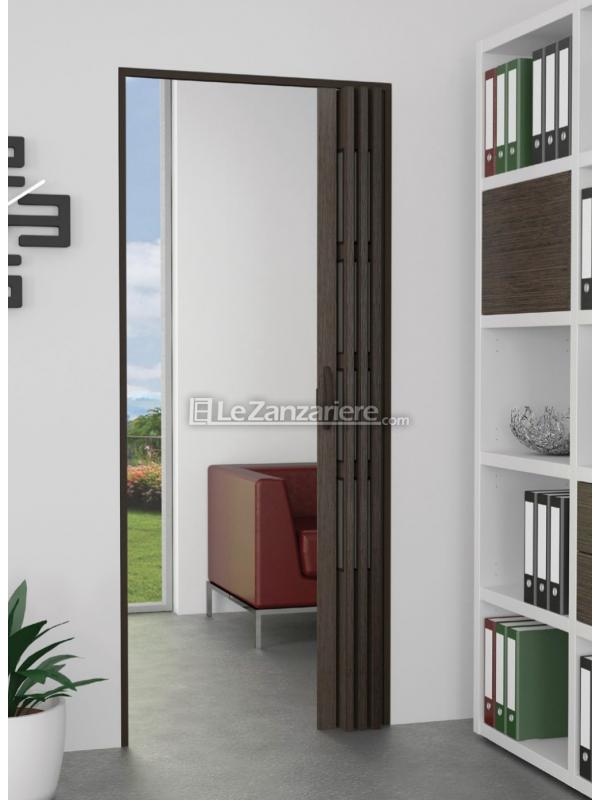 Porta a soffietto linea stampato con effetto legno, marmo o puntinato e con  vetrini.